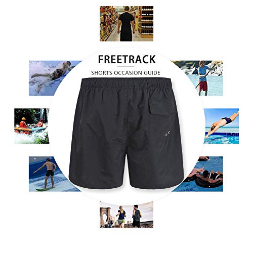 Freetrack Men Swim Trunks Quick Dry Beach Shorts Board Short Bathing Suits Mesh Lining Swimwear with
