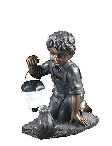 Cheap Winsome House Boy with Solar Light and Frog