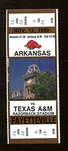 1988 Arkansas v Texas A&M Aggies Football Ticket Razorback Stadium 43023