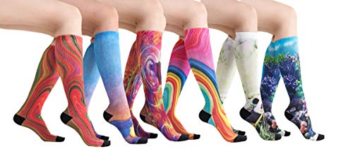 6 Pairs Women's Graduated Compression Printing Trouser Socks 8-15mmHg (621A2) by Eabern