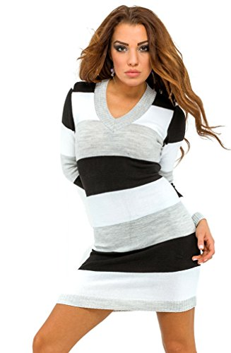 Glamour Empire. Womens Knit Stretchy Warm Jumper Dress Sweater Top Stripes. 405 (Black, ONE SIZE US 4/6/8)