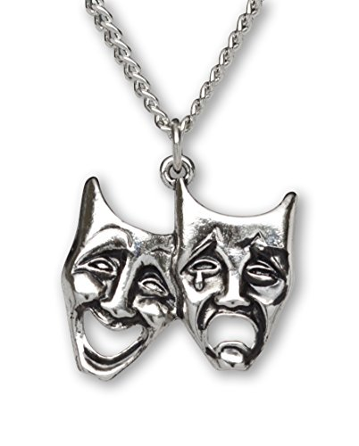 Real Metal Comedy Tragedy Masks for Drama Theater and Actors Silver Finish Pewter Pendant Necklace