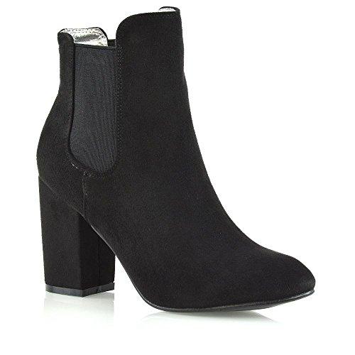 ESSEX GLAM Slip on Elastic Gusset Boots, Boots Chelsea femme Noir/Imitation Daim