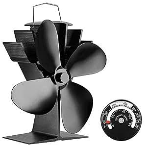 Henreal El Ventilador de la Estufa accionado por Calor con la Estufa de Madera del termómetro magnético ventila los silenciosos de Aluminio para la ...