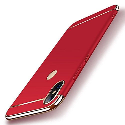 SHINESTAR *3 in 1 Shockproof* Dual Layer Thin Back Cover Case for  Mi Redmi Note 5 Pro, Red