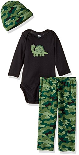 3 Piece Long Sleeve Onesie (Gerber Baby 3 Piece Bodysuit, Cap and Pant Set, dino, 24 Months)