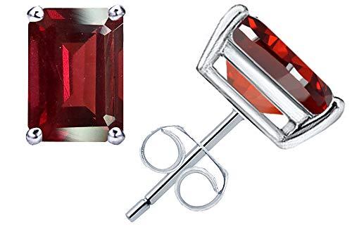 (1.4 Ct Red Garnet Gemstone Birthstone 925 Sterling Silver Stud Earrings Emerald-Cut 6x4mm For Women)