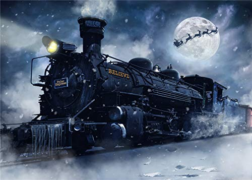 Christmas Train Backdrop Polar Express Santa Claus Reindeer Moon Snowflake Party Photo Background Birthday Party Banner Decoration