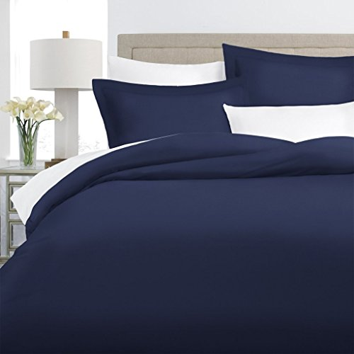 Italian Luxury 100% Long-Staple Combed Cotton Duvet Cover Set - Hypoallergenic Duvet Cover with Zippered Closure and Matching Shams - Full/Queen - Navy