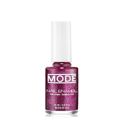 MODE Nail Enamel - .50 FL OZ Long-Wear, High Gloss, Chip Resistant, Cruelty-Free, Vegan, Salon Nail Polish Formula - MADE IN THE BEAUTIFUL USA (Plum Pearl with Red/Silver Glitter Shade #168) - Chip Maroon
