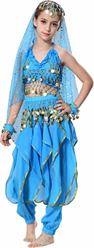 Fairycece Halloween Kid's Belly Dance Costumes Harem Pant Set School Show Outfit (Show Girl Outfits)