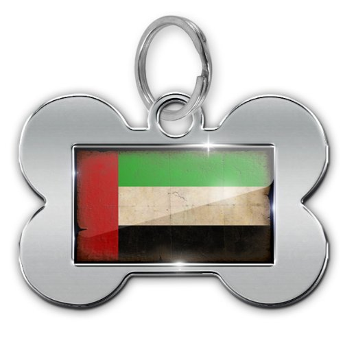 """Dog Bone Pet ID Tag """"United Arab Emirates Flag with a vintage look"""" - Neonblond"""