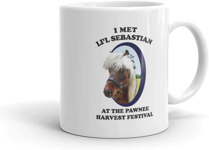 Parks And Recreation Li'l Sebastian Pawnee Harvest Festival Ceramic Mug, White 11 oz - Official Coffee Mug
