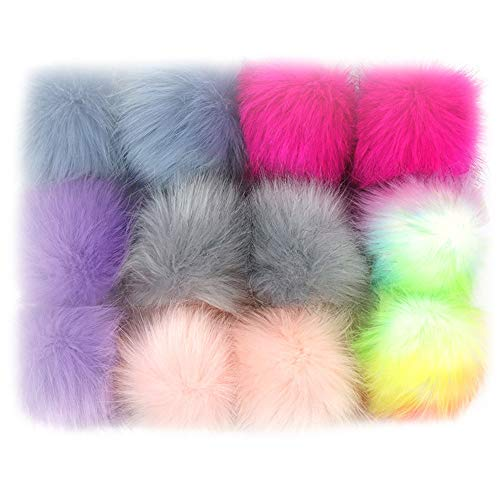 12pcs Faux Fox Fur 3.1inch Pom Pom Ball With Press Button for Knitting Hat DIY Accessories (A) (Hats Felted Knitting)