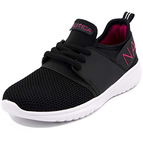 Nautica Kids Girls Youth Fashion Sneaker Running Shoes-Black/Pink-2 ()