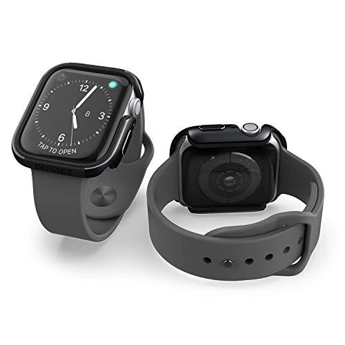 X-Doria Defense Edge, 44mm Apple Watch Case - Premium Aluminum & TPU Bumper Frame, Compatible with Apple Watch Series 4 & Series 5, (Black/Black)