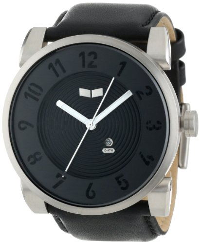Vestal Men's DOP007 Doppler Oversized Brushed Silver Black Leather Watch