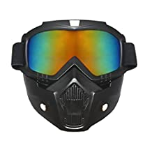 Airsoft Goggles Mask Tactical,Motorcycle Mask Detachable Helmet Sunglasses UV400 Protection By Dopromal