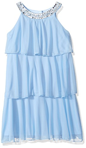 My Michelle Girls' Big Tiered Dress with Jeweled Neckline, Periwinkle, 7