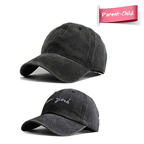 HH HOFNEN Kid's Washed Twill Cotton Baseball Cap Vintage Adjustable Hat for 2-8yrs Boys Girls (#4 Parent-Child Black & NY Black)