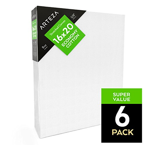 Arteza Blank Pre Stretched Canvas for Painting, 16x20, Pack of 6, Primed, 100% Cotton, For Acrylic Paint, Oil Paint, Other Wet or Dry Art Media, For the Professional Artist, Hobby Painters, Kids Canvas Watercolor Board