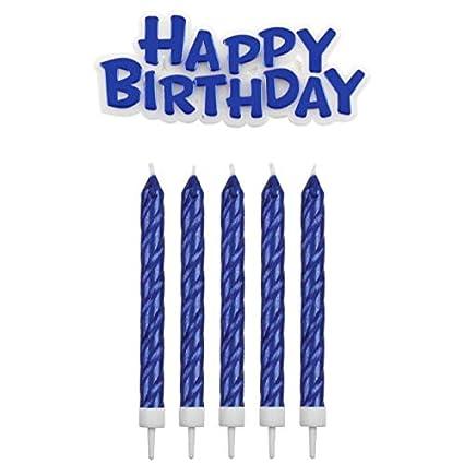 PME Velas con Placa de felicitación de cumpleaños, Azul, 1,5 ...