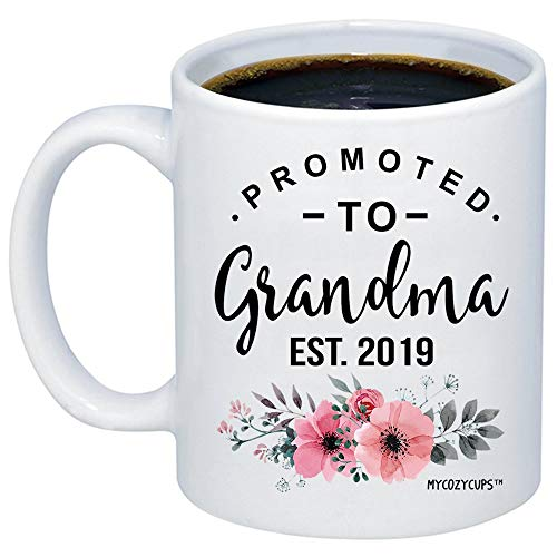 MyCozyCups Baby Reveal Gift For Mom - Promoted To Grandma 2019 Coffee Mug - New Mommy To Be Newborn Novelty Gift Idea For Mothers - New Parents Pregnancy Surprise Announcement Photo 15oz Cup For Her (Best Novelty Gifts 2019)