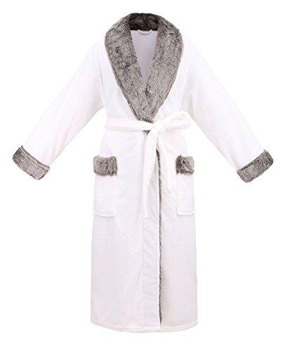 Fur Satin Robe - Livingston Unisex Luxury Pocketed Velvet Fleece Bathrobe Robe with Faux Fur Trim, Ivory