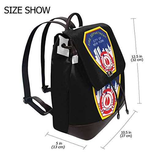 Fire Department City Of New York Fashion Design Leather Backpack For Women Men College School Bookbag Weekend Travel Daypack (New York Department Of Design And Construction)