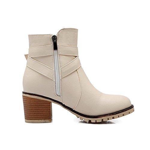 VogueZone009 Damen Rein Blockabsatz Reißverschluss Stiefel mit Metall Schnalle, Cremefarben, 41