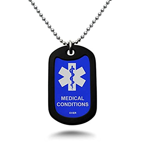 Custom Engraved Medical Alert ID Aluminum Dog Tag Necklace with Stainless Steel bead Chain(Blue)