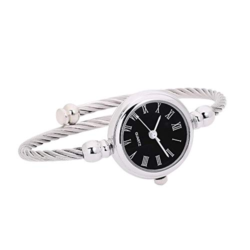 (BGRFEB Womens Fashion Silver Tone Analog Quartz Bangle Cuff Bracelet Wrist Watch Unique Elegant Stainless Steel Wire Band Arabic/Roman Numerals)
