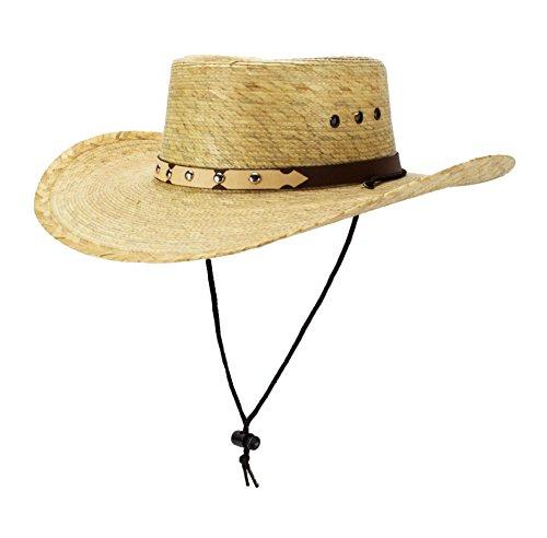 Rising Phoenix Industries Mexican Palm Leaf Straw Gambler Bolero Gaucho Cowboy Sun Hat w/Chin Strap, Flex Fit (Fit Rising Flex Cap)