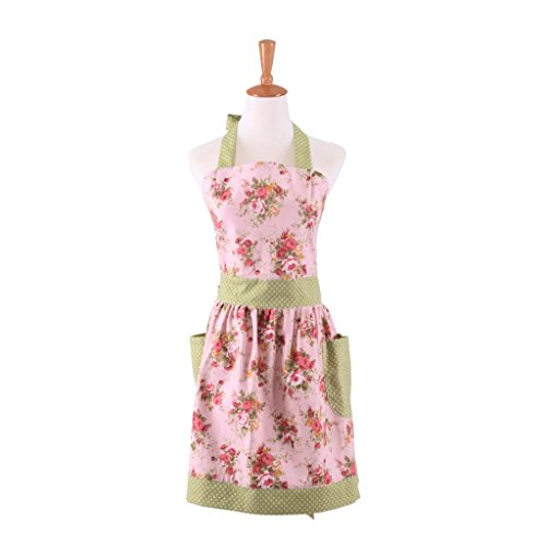 Payviva 100% Cotton Canvas Floral Blossom England Style Women Apron with (Style Apron)