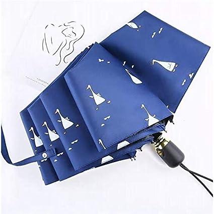 Sombrilla de Lluvia Completamente automática Lluvia o Brillo Sombrilla Plegable de Doble propósito con Tres Puertas automáticas - Sombrilla de Apertura automática con Forma de Pato Azul Oscuro