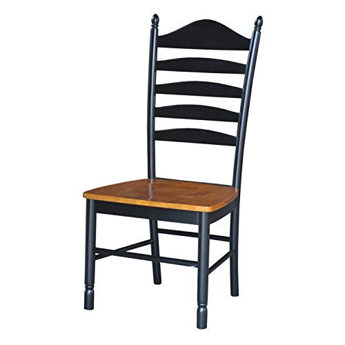 International Concepts C57-271P Pair of Madison Park Ladder-Back Chairs, Black/Cherry - Black Ladder Back Chairs