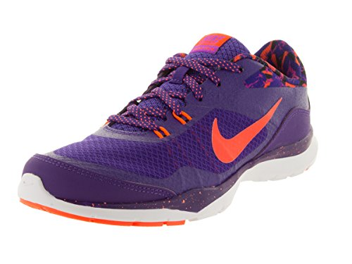 NIKE Women's Flex Trainer 5 Print Training Shoe Court Purple/Black/Orange Size 8.5 M US (Webbed Court)
