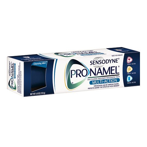 Sensodyne ProNamel Multi-Action Daily Fluoride Toothpaste for Sensitive Teeth, Cleansing Mint 4 oz