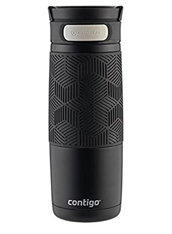 Contigo AUTOSEAL Transit Stainless Steel Travel Mug, 16oz, Matte Black with Black Accent Lid (Travel Coffee Mug 16 Ounce)