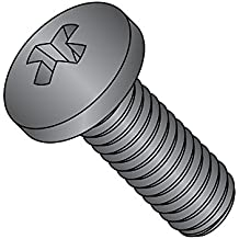"""18-8 Stainless Steel Pan Head Machine Screw, Black Oxide Finish, Meets MS-51957, #1 Phillips Drive, #4-40 Thread Size, 1-1/2"""" Length, Fully Threaded, USA Made (Pack of 50)"""