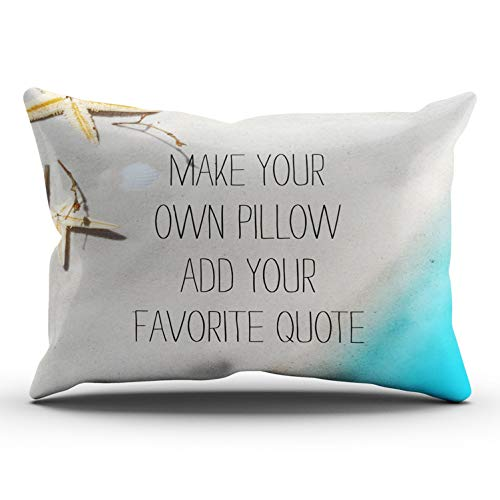 WEINIYA Home Decoration Design Pillow Case Make Your Own Beach Photo Add Favorite Quote Throw Pillowcase Custom Cushion Cover Lumbar 12X24 Inches One Sided Printed (Set of 1)