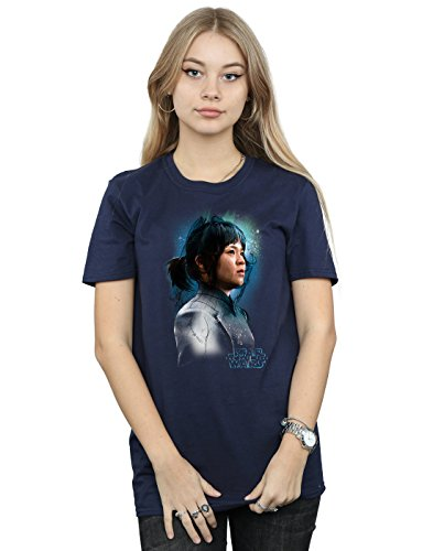 Star Wars Women's The Last Jedi Rose Tico Brushed Boyfriend Fit T-Shirt Large Navy Blue