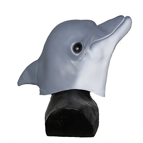 Sheep, Wolf, Monkey, Chicken Head Mask Latex Animal Full Overhead Costumes for Party (Dolphin) ()