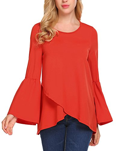 ELESOL Women's Long Bell Sleeve Blouse Loose Trumpet Casual Solid Flare Tops Orange/XL ()