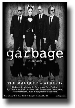 Garbage Poster - Band Shirley Manson - Concert Promo Flyer