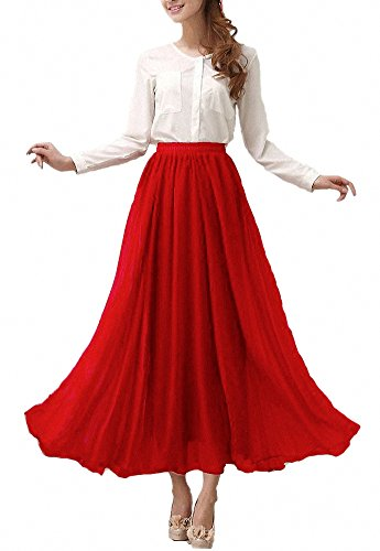 Afibi Rot Retro Frauen Kleid Vintage Maxi Chiffon Langer Rock QsrhCtdxB