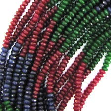 "4mm Faceted red Blue Green Jade rondelle Beads 15.5"" Strand Multicolor"