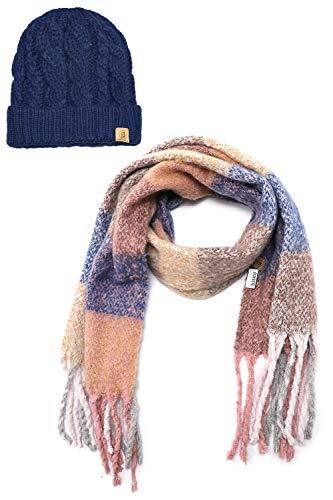 (Basico Women Winter Warm Knit Infinity Scarf Tassels Soft Shawl Various Colors (Set 5 Blue))