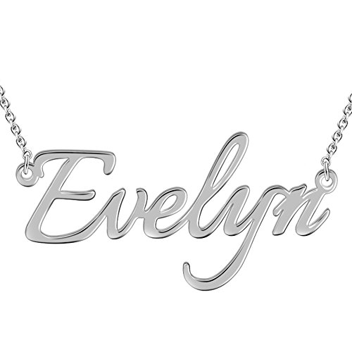 (Name Necklace in 18K Platinum/Gold/Rose Gold Plated over Silver - Personalized Valentine's Day Gift for Her!)