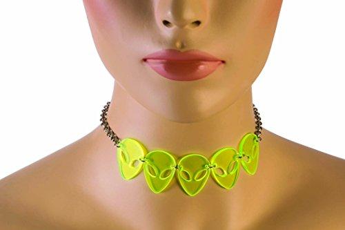 Forum Novelties Cosmic Alien Necklace, Green, -